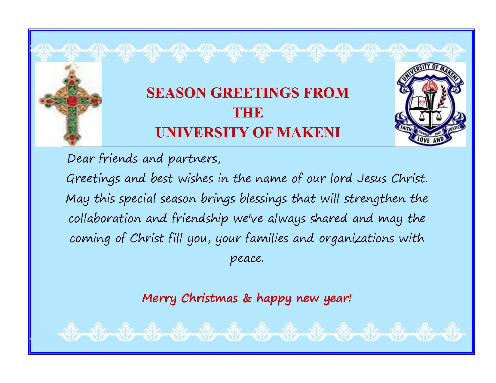 Greetings card from UNIMAK