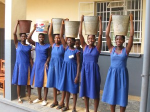St Joseph's students collecting water