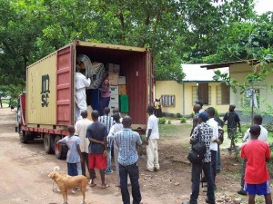 Excitement as the container is unloaded at the University
